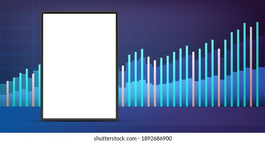 Tablet with a white screen on the background of financial charts. The concept of analytics, business or trading on the financial exchange. Vector.