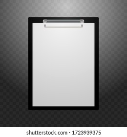 A tablet for writing with a white sheet. A tablet for writing on a black background with a gradient. Vector illustration. Stock Photo.