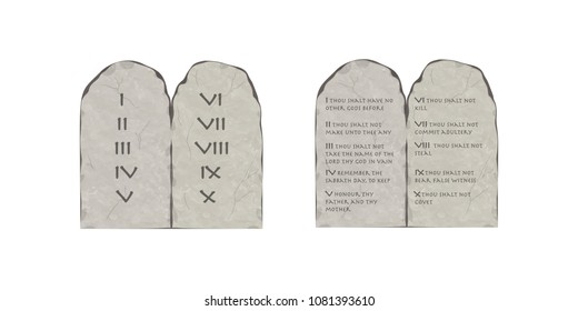 Tablets of the Covenant with ten commandments of the Holy Bible on white background. Torah Moshe. Tablets of Moses.