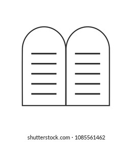 Tablets of the Law icon in black flat outline design.