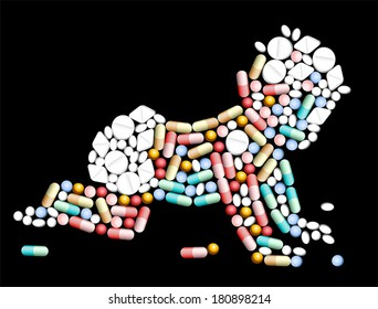 Tablets, pills and capsules, that shape the silhouette of a baby.