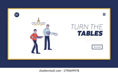 Tableware service landing page with two men holding dishes for serving table. Holiday event, anniversary or family dinner arrangements concept. Linear vector illustration
