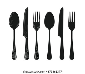 Tableware such as spoon, knife, fork silhouette. Kitchen, cuisine, cooking icon or symbol. Sketch vector illustration