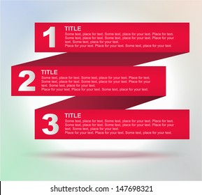 Tabs: 1, 2, 3, 4. Four banners for your tittles (elements)