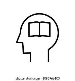 Tabula rasa icon, blank book in head icon, vector illustration