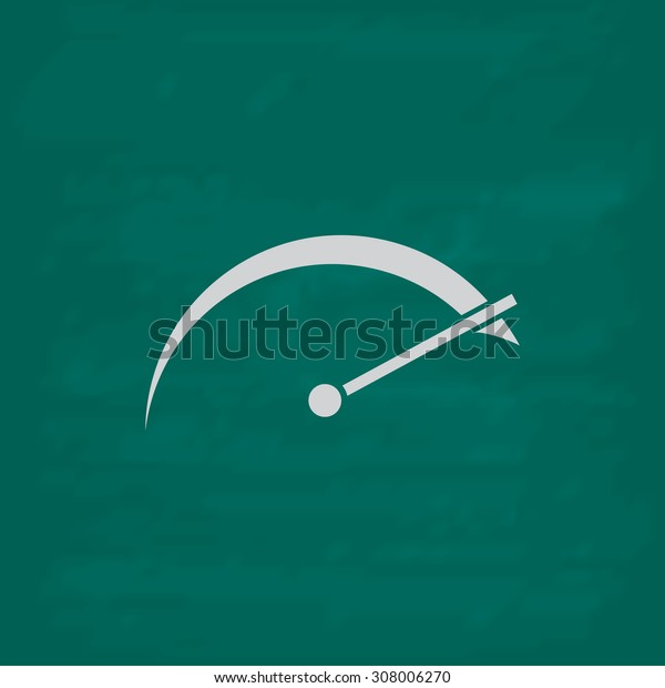 Tachometer. Icon. Imitation draw with white chalk on green chalkboard. Flat Pictogram and School board background. Vector illustration symbol