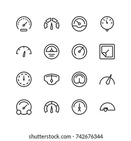 Tachometer icon set. Collection of high quality outline speedometer pictograms in modern flat style. Black speed symbol for web design and mobile app on white background. Internetline logo.