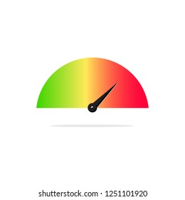 Tachometer on the right side from green to red color power indicator,stock vector illustration