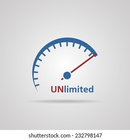 Tachometer, Speedometer symbol of unlimited speed, business concept. vector illustrations