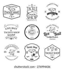 Tackle And Bait Shop Label Desing Elemets Emblem Vector illustration