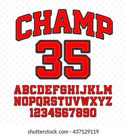 Tackle Twill style Champion typeface. Embroidered sports font. Letters and numbers vector illustration.