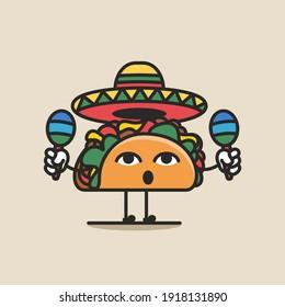 Taco character with sombrero and maracas vector illustration. Taco cute cartoon vector icon.