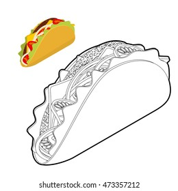 Taco coloring book. Traditional Mexican food in linear style. Tortilla chips and onion. Tomato and fresh meat