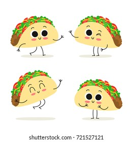 Taco. Cute cartoon fast food vector character set isolated on white