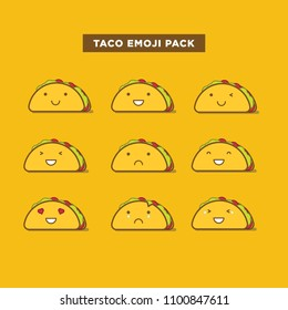 Taco Emoticon Set. Taco Emojis.