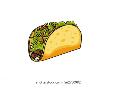 Taco fast food, cartoon. Hand drawn isolated on white background. Pop art