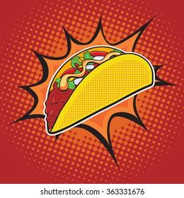 Taco fast food vector pop art retro style.  Menu comic style