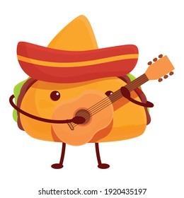 Taco with guitar icon. Cartoon of taco with guitar vector icon for web design isolated on white background