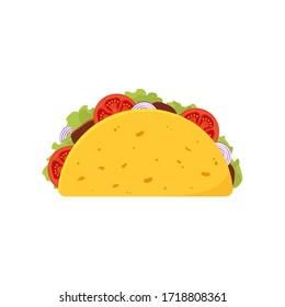 Taco with meat, vegetable and tortilla. Traditional mexican fast-food. Vector illustration