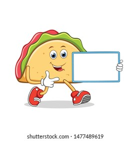 Taco Mexican Cartoon Mascot Character With Holding a Blank Sign.