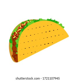 Taco mexican food, vector illustration in flat style