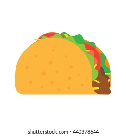 Taco mexican food vector illustration in flat style. Traditional tacos isolated from background