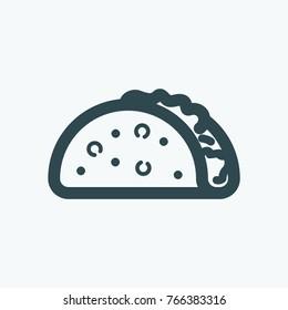 Taco, mexican street tacos vector icon