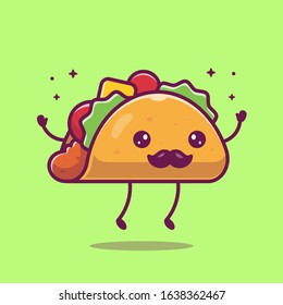 Taco Mustache Mascot Cartoon Vector Icon Illustration. Cute Taco Character. Food Icon Concept White Isolated. Flat Cartoon Style Suitable for Web Landing Page, Banner, Flyer, Sticker, Card