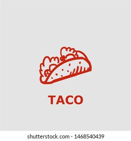 Taco symbol. Outline taco icon. Taco vector illustration for graphic art.