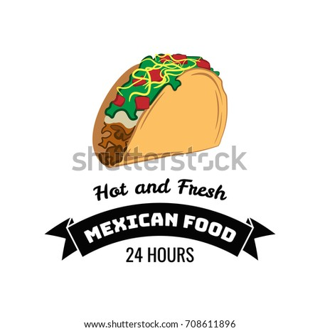 taco traditional mexican food label template stock vector royalty