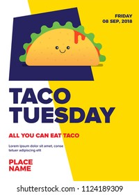 Taco Tuesday Concept for poster/blog/social/ad. Happy Hour. Taco Tuesday Template design with Text Box Template