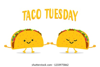 Taco Tuesday. Two funny tacos. Taco mexican food. Vector illustration