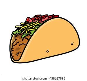 Taco Vector Icon. A hand drawn vector icon illustration of a taco.