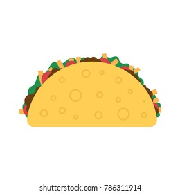 Taco vector illustration in flat style. Taco mexican food. Traditional tacos isolated from background. Taco fast food.