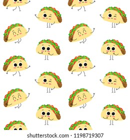 Taco, vector seamless pattern with cute cartoon mexican fast food characters isolated on white