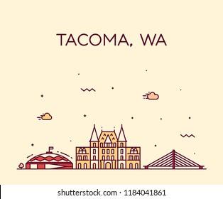Tacoma skyline, Washington, USA. Trendy vector illustration, linear style