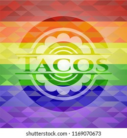 Tacos emblem on mosaic background with the colors of the LGBT flag