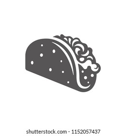 Tacos icon isolated on white background vector illustration. Street fast food vector graphic silhouette.