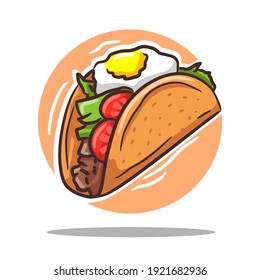 Tacos Italian Mexican Vector Illustration Tomato Vegetables and Meat Slices With Cheese Culinary Drawing Food