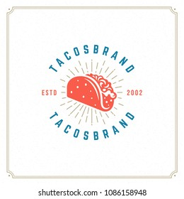 Tacos logo design vector illustration. Hot dog sausage silhouette, good for restaurant menu and cafe badge. Vintage typography logotype template.