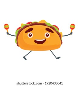 Tacos with maracas icon. Cartoon of tacos with maracas vector icon for web design isolated on white background