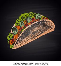 Tacos sharp color illustration chalk.
