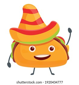 Tacos in sombrero icon. Cartoon of tacos in sombrero vector icon for web design isolated on white background