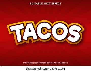 tacos text effect template design with bold font style and cartoon concept use for brand and business logo