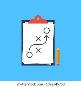 Tactic icon. Stroke line strategy. Vector in flat design