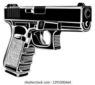 Tactic pistol Glock gun vector illustration. 9 caliber. Pistol emblem logo.