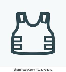 Tactical flak jacket. Bulletproof vest vector icon