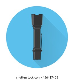Tactical flash light icon. Flat style, long shadow. Vector illustration