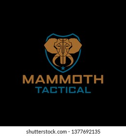 Tactical Mammoth Elephant  logo in shield vector template for military tactical armory logo design