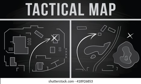 Tactical map of the fighting, Strategy, Vector illustration on the chalkboard background